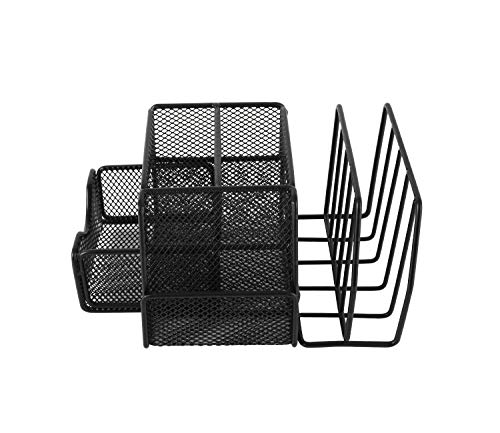 Superbpag Mesh Office Supplies Desk Organizer Caddy and Storage with Drawer and 2 Letter Sorter, Desktop Mesh Collection with Pen Holder, Black