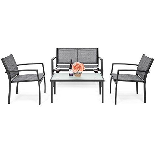 Best Choice Products 4-Piece Outdoor Metal Patio Conversation Furniture Set w/Loveseat, 2 Chairs, and Glass Coffee Table, Gray