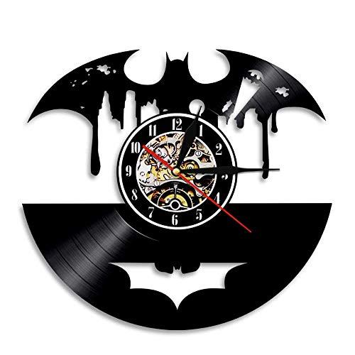 Horloge murale en vinyle Horloge de disque, rétro Batman Design Horloges de disque vinyle Horloge murale en vinyle Décoration familiale Horloge design 3D Salon Chambre Restaurant Décoration murale,B
