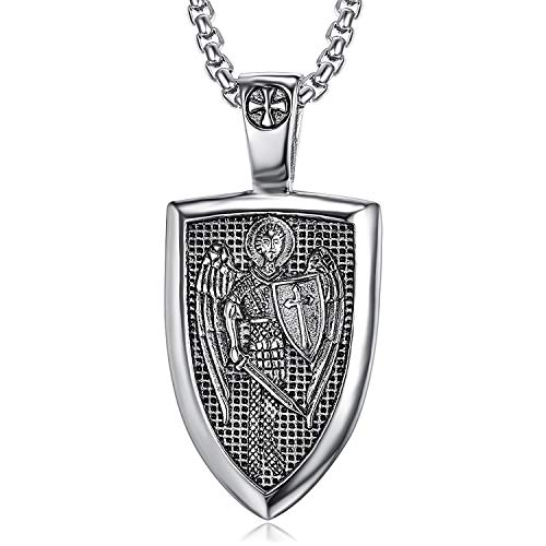 San Miguel Collar de Acero Inoxidable Colgante de protección de arcángel Guradian Angel Wing Patron Catholic Saint Medallion
