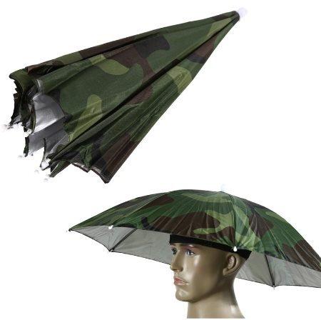 Green Army Portable Outdoor Sports Umbrella Hat Cap Folding Women Men Umbrella Fishing Hiking Golf Beach Headwear Handsfree Umbrella