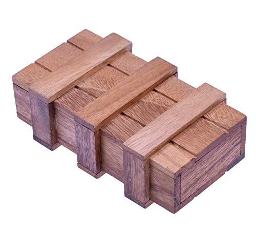 LOGOPLAY Schatztruhe mit 2 Geheimfächern - Schatzkiste - Zauberkiste - Trickkiste - Denkspiel - Knobelspiel - Geduldspiel - Logikspiel aus Holz