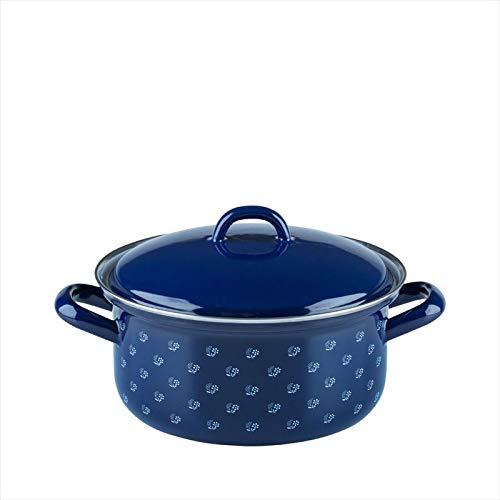 Riess, 0129-074, Kasserolle mit Deckel, COUNTRY - DIRNDL, Durchmesser 18 cm, Höhe 13,3 cm, Inhalt 1,5 Liter, Emaille, blau/weiß