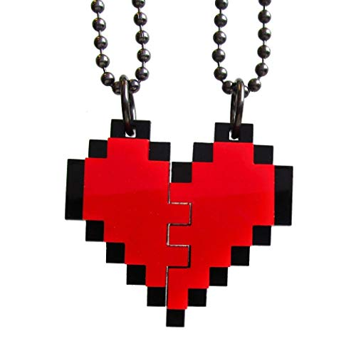 Friendship Pixel Heart Set of 2 Necklaces, BFF Heart Necklace Set, Best Friends 8 Bit Gift Heart Necklace Set, Friend Broken Heart BFF Gift