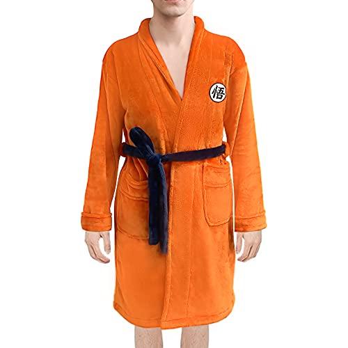 TIMSOPHIA - Albornoz de anime para hombre, súper suave, con cuello de Naranja naranja L/XL