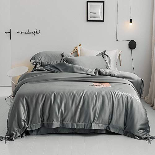 geek cook Bed Sheet Set,Summer European double-sided ice silk four-piece princess style silk bed sheet satin quilt silky bedding-Gray bow_1.5m bed (quilt cover 200 * 230)