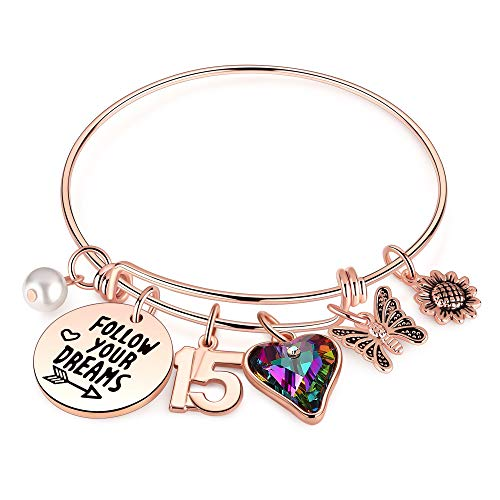 15th Birthday Gifts for Teen Girls, 15 Year Old Birthday Gifts for Daughter Granddaughter Birthday Bracelets for Twins Birthday Present Happy 15th Birthday