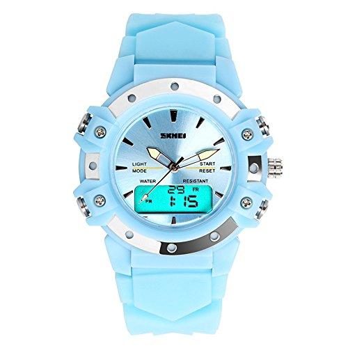TONSHEN Moda Relojes de Pulsera Mujer Deportivo LED Electrónica Digital Dial Time Militares 12H / 24H Horas 5ATM Resistente al Agua Analógico Cuarzo Calendario Cronómetro (Azul)