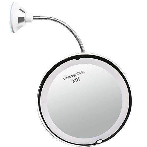wuxingmeili Led 10x Espejo De Maquillaje Aumento De 10x con Ventosa & El Cuello De Cisne Flexible Ajustable 360 ° Espejo De Baño, Espejos con Luz para Maquillaje