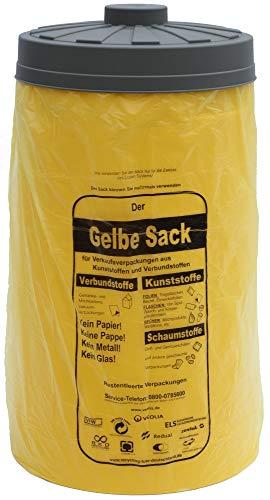 Will-Jeder Keine zerrissenen gelben Säcke - Sacktonne gelb mit Deckel - Gelber Sack Ständer - Einfüllhilfe für gelben Sack Müllsackständer