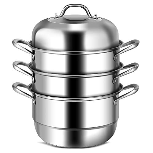 COSTWAY 3-Tier Stainless Steel Steamer, 11'' Multi-Layer Cookware Pot with Handles on Both Sides, with Tempered Glass Lid, Work with Gas, Grill Stove Top, Dishwasher Safe, Includes 2 Steaming Septa
