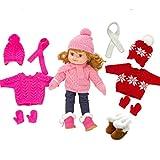 H.aetn Muñeca Suave de 40 cm con Ropa, muñeca con Accesorios, Juguete para bebés, suéteres de Santa de Invierno y Zapatos para muñecas (1 * muñeca + 3 Juegos de Ropa + 2 Pares de Zapatos)