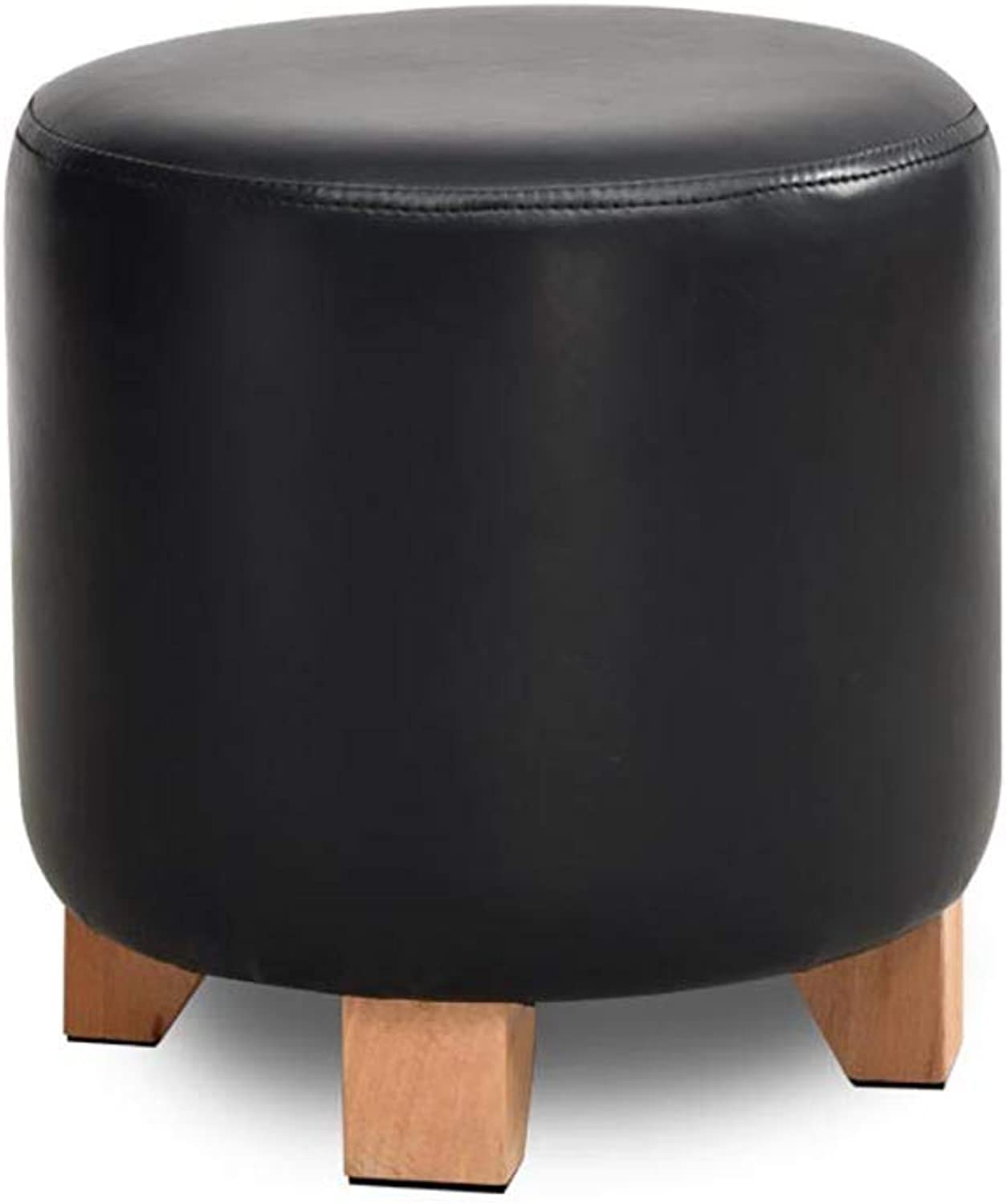 Solid Wood Leather Stool Footstool   shoes Bench Sofa Stool Breathable Easy to Clean wear Non-Slip Weight Bearing Strong (color   Black, Size   29  30cm)