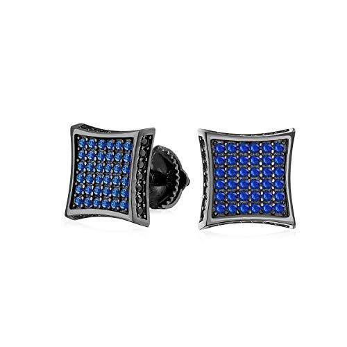 Cuadrado CZ Micro Pave Cubic Zirconia Negro Azul Blanco Kite Stud Para Hombres Mujeres Stud Pendientes Screwback Plata esterlina 9MM