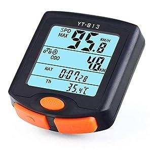 GuDoQi Ciclocomputador Ordenador para Bicicleta con Cables Impermeable Velocímetro de Bicicleta Cuentakilómetros, multifunciones con LCD Retroiluminada