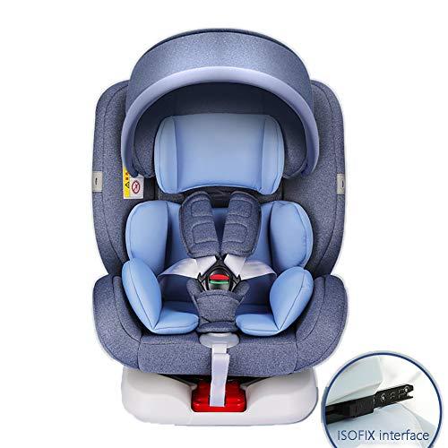 WWLONG Cómodo Asiento para automóvil para niños, arnés Cubierta Refuerzo con Clip de cinturón Seguridad para niños,Asiento Elevador Giratorio de 360 ° para automóvil,con toldo-Blue