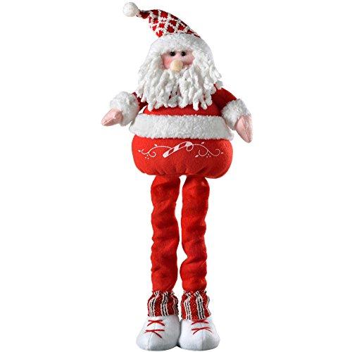 WeRChristmas – Decorazione Di Babbo Natale Con Gambe Allungabili, Tessuto, Multicolour, 33 X 26 X 13 Cm