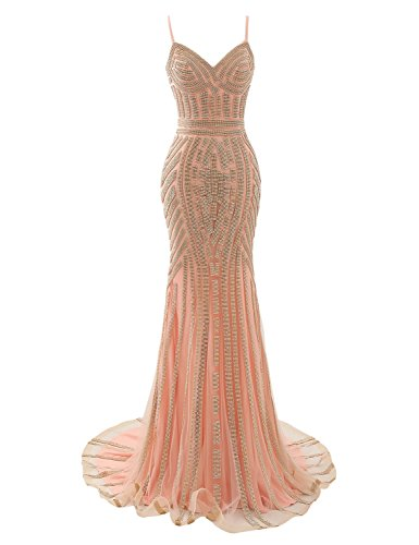 Belle House Women's Long Pink Formal Dresses 2021 Senior Ball Gown Tulle Prom Dresses Sexy Mermaid Style