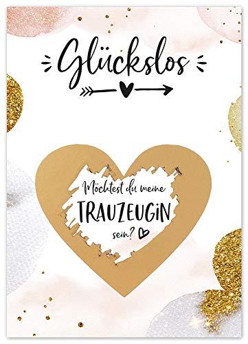 JoliCoon Rubbelkarte - Trauzeugin fragen - Golden Glamour - Willst du meine Trauzeugin sein