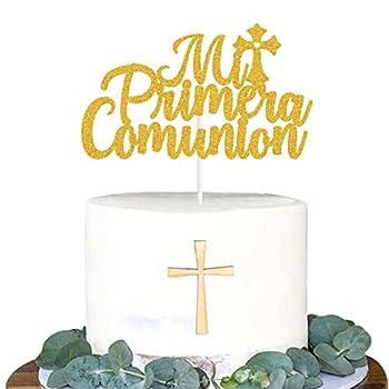Yvokii Cross Baptism Cake Topper Mi Primera Comunion Birthday Christening Theme Party First Communion Baby Shower Child Mi Bautizo Cake Decorations Supplies