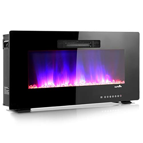 """VeenShop 36"""" Recessed Wall Mounted Standing Electric Heater Electric Fireplace This is a Wall-Mounted Fireplace, which is Your Best Choice to Warm up Your Room in Winter. Black"""