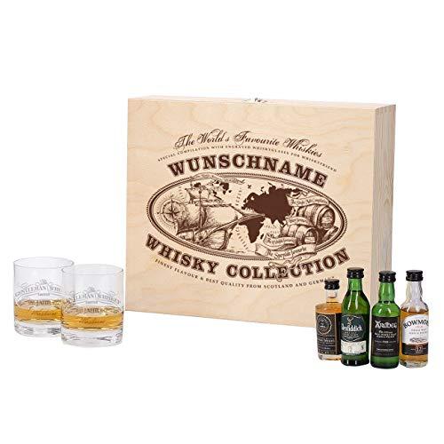 Herz & Heim® Whisky Geschenkset mit 4 Miniaturversion und gravierten Whisky-Gläsern in gravierter Holzkiste Worlds Favourite Whiskys