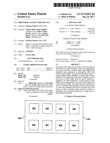 Processing analog audio signals: United States Patent 9774952 (English...