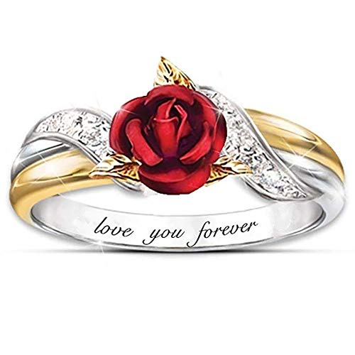 NMSL 2021 Fashion Rings for Women Girls, Personalized Premium Mom Loves You Forever Rings, Diamond Silver Exquisite Wedding Ring Jewelry Gifts Rhinestone Dazzling Ring Gift Rose Ring B #8