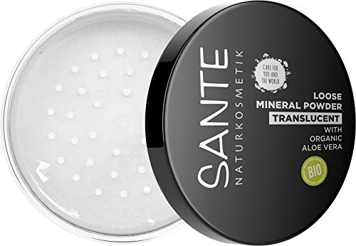SANTE Naturkosmetik Loose Mineral Powder, transparentes loses Puder, fixiert langanhaltend, für einen ebenmäßigen Teint, mit Bio-Aloe Vera, Vegan, 12g