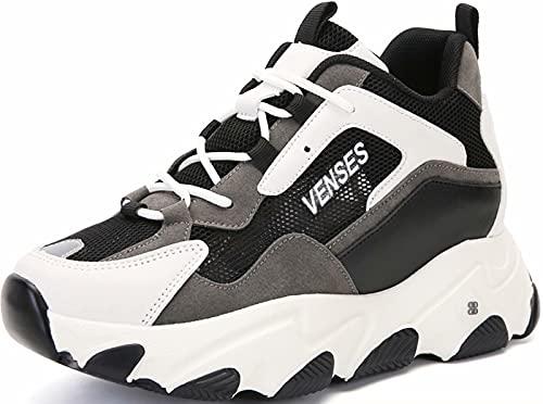 GILKUO Zapatillas Cuña Interior Mujer Verano Zapatillas Altas Deportivas Deporte Plataforma Sneakers Zapatos Cuña Talón 9cm Negro 39