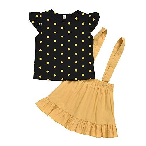 BOBORA Ensemble Bébé Fille, 2PCs Vêtements d'été Bébé Fille T-Shirt à Pois avec Jupe Salopette 1-6Ans
