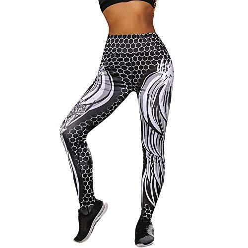 Paolian Femmes Yoga Leggings imprimées Sport entraînement Gym Fitness athlétique Pantalon Slim Jeans Combinaisons Short Collants (S/M/L/XL)