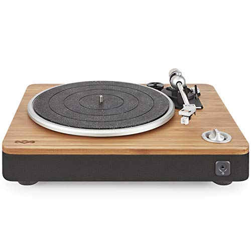 House of Marley Tourne-disque Stir It Up - Platine Vinyle, Préampli Stéréo, Port USB, Record LP à PC, 33 + 45 Tr / min, Anti-patinage, Câble Audio RCA vers 3.5mm, Housse de protection - Bambou / Noir