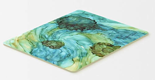 "Caroline's Treasures Abstract in Teal Flowers Kitchen or Bath Mat, 20 by 30"", Multicolor"