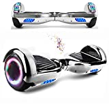 Wind Way Hoverboard 6,5' - Moteur 700W - Parleur Bluetooth - Self Balancing Scooter Tout Terrain Adulte - Skateboard Roues LED - Gyropode Meilleur Qualité - Enfant SmartBoard Pas Cher - Silver Chromé