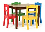 Humble Crew Tot Tutors Kids Wood Table & 4 Chair Set, Espresso/Primary