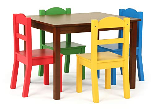 Tot Tutors Kids Wood Table & 4 Chair Set, Red/Blue/Green/Yellow, Espresso/Primary
