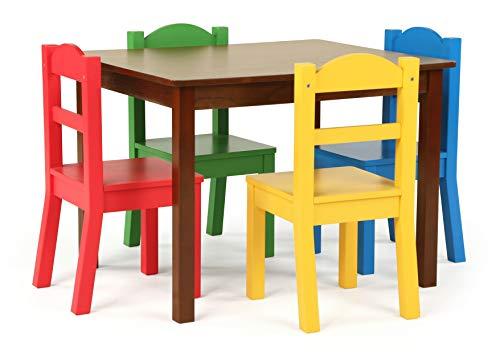 Humble Crew Tot Tutors Kids Wood Table & 4 Chair Set, Espresso/Primary