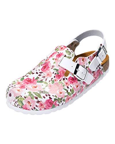 CLINIC DRESS - Damenclog Blumen-Motiv Weiß Rosenholz weiß/Rosenholz, Motiv Blumen 41