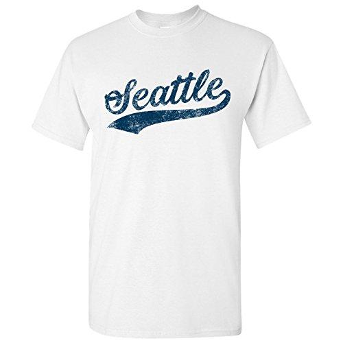 UGP Campus Apparel Seattle City Baseball Script Basic Cotton T-Shirt - Large - White