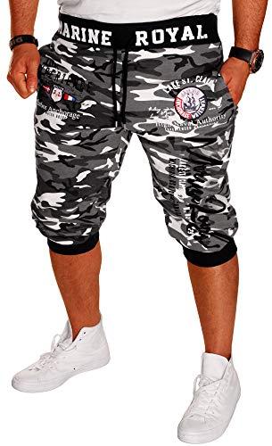 Herren Short Shorts Bermuda Kurze Hose Steetwear 3/4 Marine Royal Camouflage (B.3484) (3XL), Camou-Schwarz