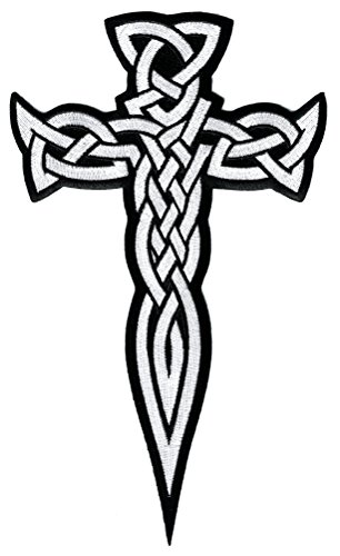 Large Celtic Cross Dagger White Iron-On Patch Embroidered Irish Crucifix
