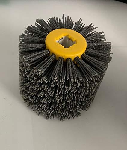 Abrasive Nylon Wire Drawing Wheel Drum Burnishing Brush for wooden polishing 5 inch 60 80 120 180 240 320 400 600 Grit 1 pack (60# black)