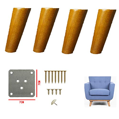 4er-Pack Möbelbeine Eiche, Couchbeine, Tischbeine, Möbelbeine aus dunklem Holz, Schrankbeine, Sofafüße, Fußhocker, Betttischstuhl, Schrankcouch, Ersatzbeine, mit Schrauben