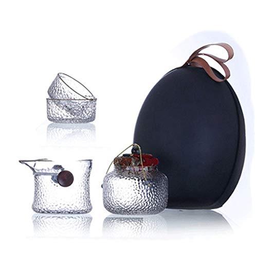 Tetera de cristal, tetera de cerámica, resistente a altas temperaturas, juego de té de cristal de cuatro piezas portátil de viaje hecho a mano resistente al calor taza de té