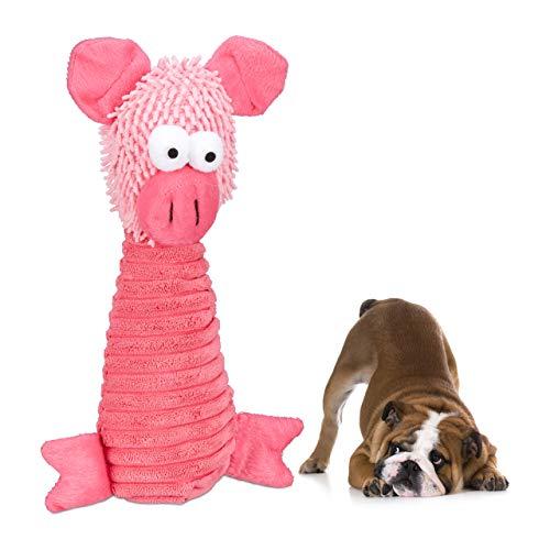Relaxdays hondenspeelgoed pluche, met piepscher, kleine en grote honden, knuffeldier om te knuffelen & te spelen, roze