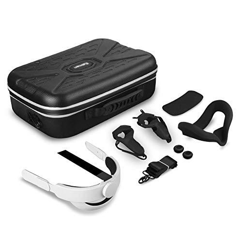 Vakdon 7in1 Hard Travel Case für Oculus Quest 2 VR-Headset Verstellbarer Kopfgurt K3 Elite-Gurt + VR Silikon Face Cover + Touch-Controller + Objektivschutzabdeckung Zubehörset Tragetasche (Schwarz)