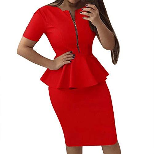 OverDose Boutique Damen Kleider, Frauen Businesskleider Schößchen Kurzarm V-Ausschnitt Reißverschluss Einfarbig Hoher Taille Slim Wickelkleid...