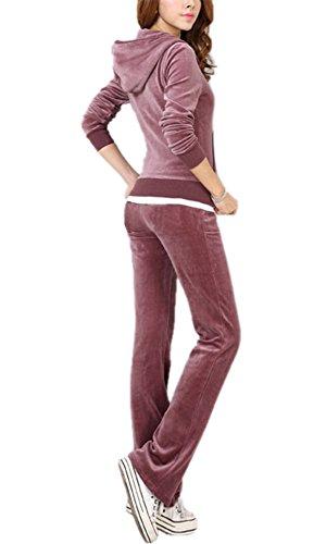 Damen Velour Full Trainingsanzug Hoodie und Jogginghose Damen Kordelzug Reißverschluss Jogger Sport 2 Stück Set