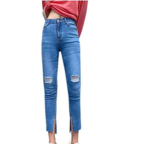 NOBRAND nieuwe grote vrouwen kleine voeten, hoge taille, Slit en dunne broek met gaten